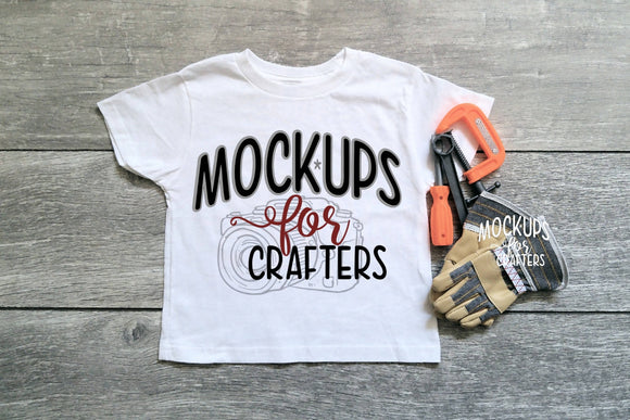 Child's Gildan Tshirt with dollar store tools and workgloves accessories
