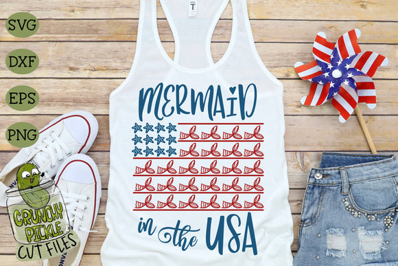 Mermaid in the USA Patriotic SVG Cut File