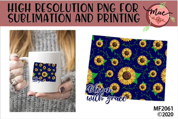 Wyoming Sunflower Bloom In Grace Sublimation Design