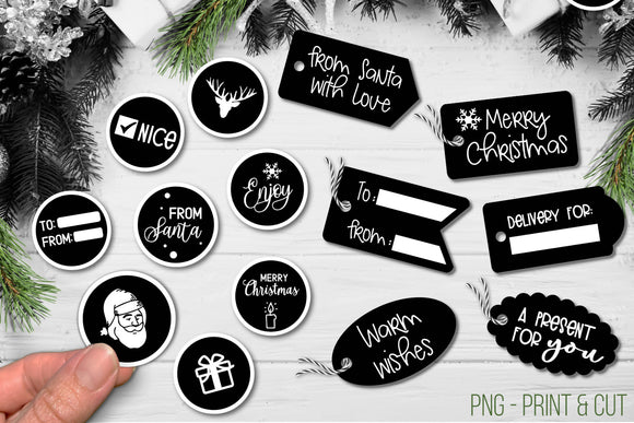 Christmas gift stickers and labels - PNG Print and cut