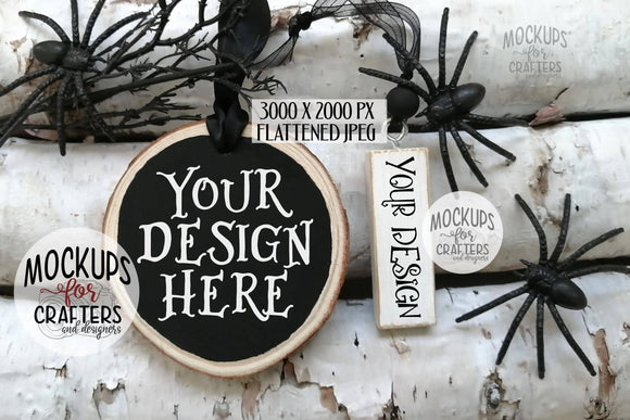 Wood Slice & Building Block Ornament Mock-Up Duo, Halloween theme