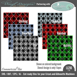 Patterned Buffalo Plaid Stencil Design Bundle