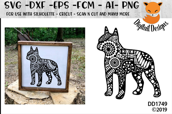Zentangle Boston Terrier SVG