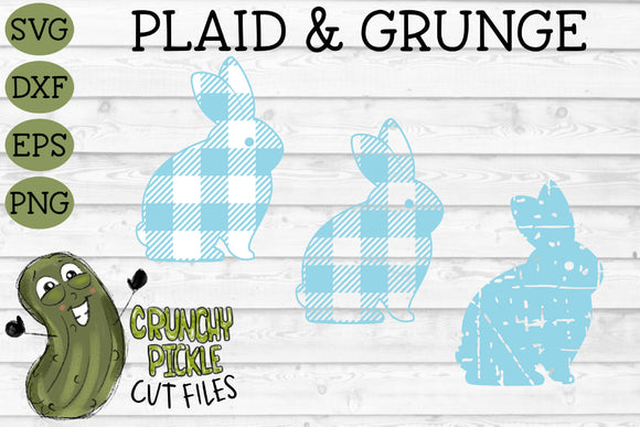 Plaid & Grunge Spring Easter Bunny 3 SVG Cut File