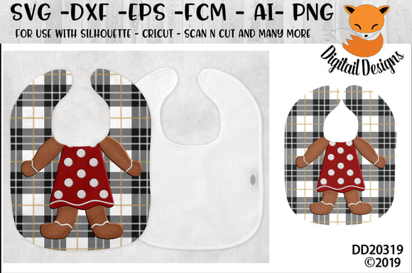 Funny Gingerbread baby Bib Sublimation Design