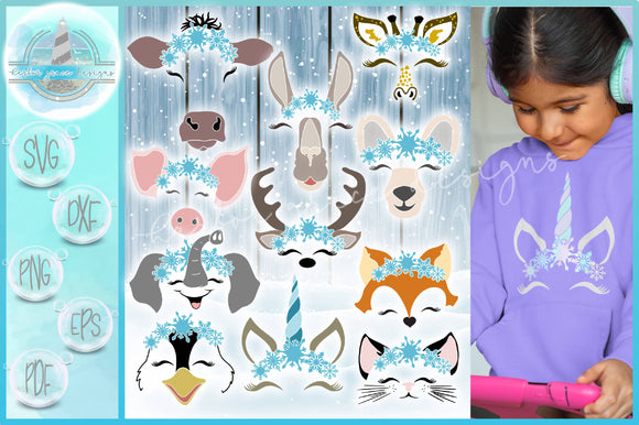 Snowflakes SVG | Smiling Animal Faces Snowflakes SVG Bundle