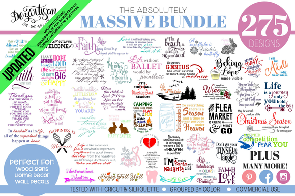 Absolutely Massive Bundle of 275 SVG & DXF cut ready files for Cricut & Silhouette