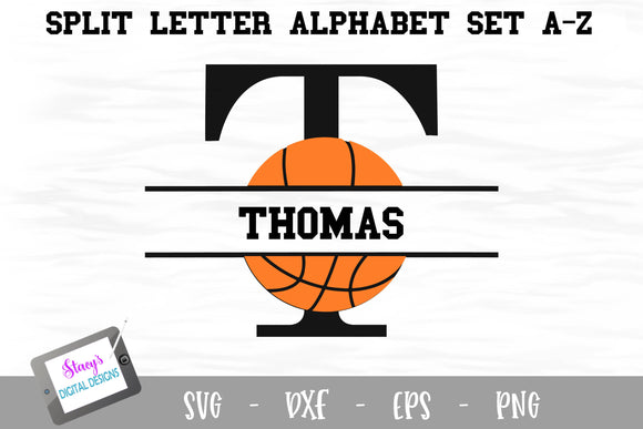 Split Letters A- Z - 26 split monogram basketball SVG alphabet