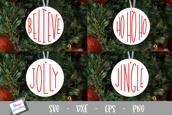 Christmas Words SVG - 4 Round Ornament SVG Designs