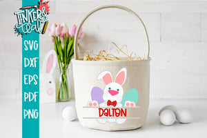 Split Boy Bunny Monogram Basket SVG