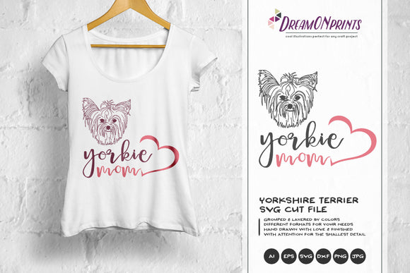 Yorkie Mom SVG - Yorkshire Terrier SVG Illustration