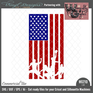 WG210 Baseball Players US Flag