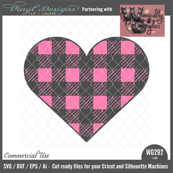 WG292 Buffalo Plaid Heart