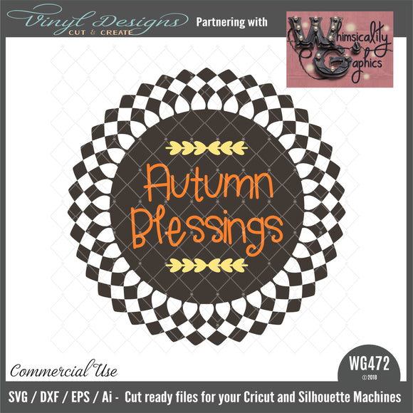WG472 Autumn Blessings Circle Cut File