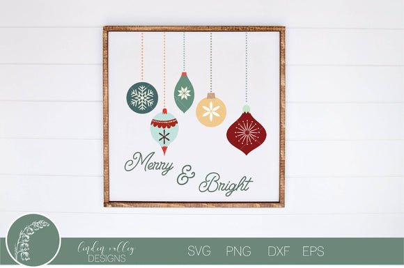 Merry and Bright Ornament SVG|Boho Ornament SVG