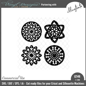 Fancy Geo Flowers SVG Cut File