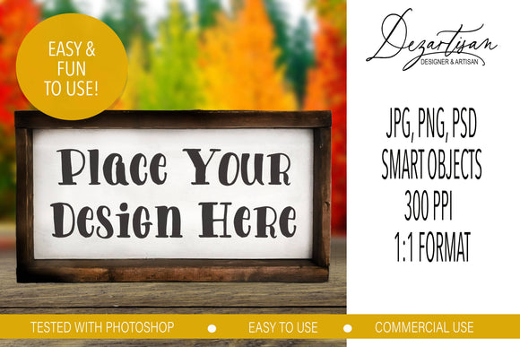 Fall Autumn horizontal Wood Sign Mock Up Farmhouse Style PSD, JPG, PNG