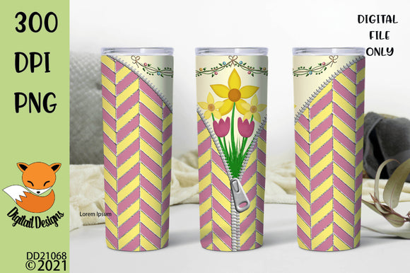 Spring Flowers Zipper Skinny Tumbler Sublimation Design