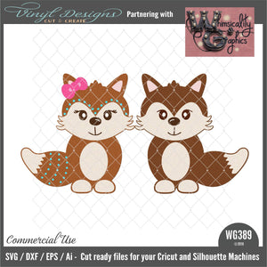 Baby Fox Boy and Girl Cut File WG389