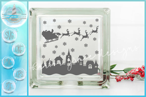 Santa Sleigh Over Town Stars Silhouette Glass Block Design SVG
