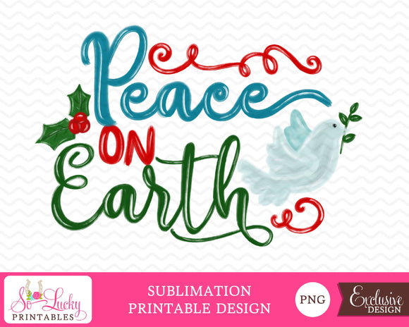 Peace on Earth Christmas watercolor printable sublimation design - Digital download - PNG - Printable