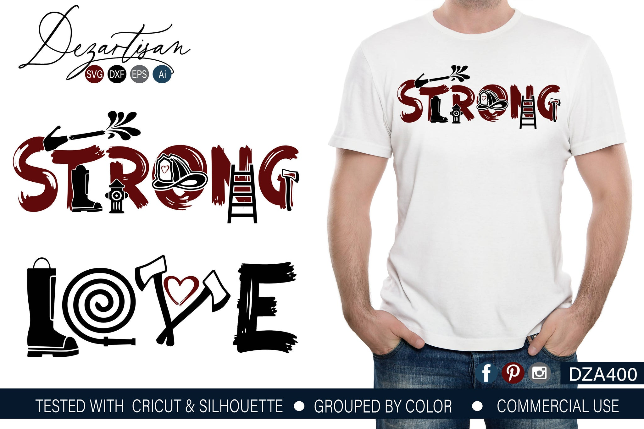 Download Fireman Strong Love SVG | DXF Cut Ready File - SVG & Font ...
