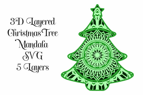 Christmas Tree Layered Mandala SVG for Cricut and Cameo