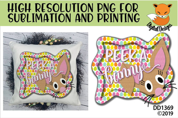 Peeking Easter Bunny Frame Sublimation