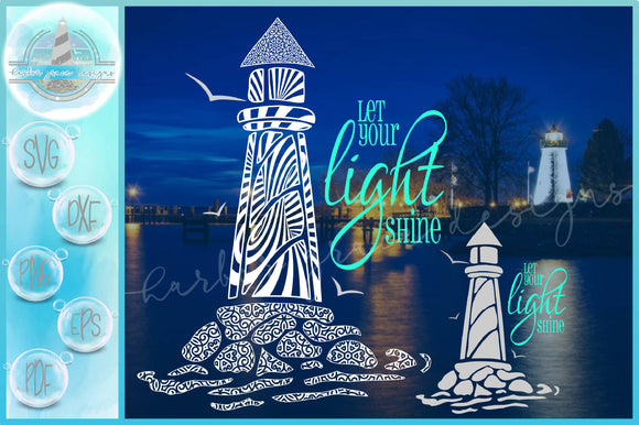 Lighthouse Mandala Zentangle Let Your Light Shine Quote SVG