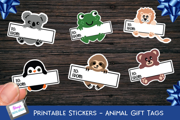 Gift Tag Stickers - Printable gift tags - Animals