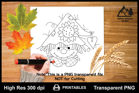Smiling Scarecrow With Sunflower & Heart Autumn Printable Line Art PNG