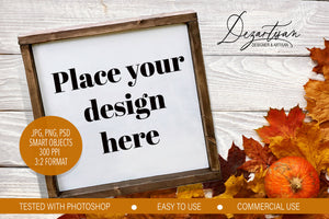 Fall 3:2 Wood Sign Mock Up Farmhouse Style PSD, JPG, PNG