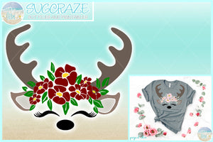 Deer Face with Flowers SVG Dxf Eps Pdf PNG Files for Cricut