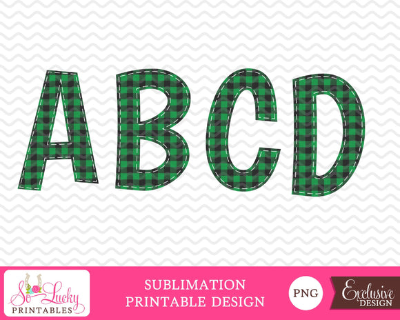 Buffalo Plaid green check letters watercolor printable sublimation design - Digital download - PNG - Printable graphic design
