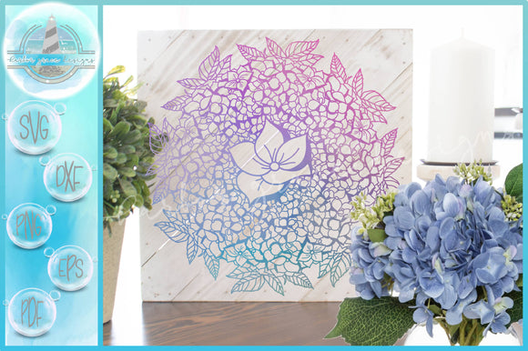 Hand Drawn Hydrangea Flower Bloom Mandala Zentangle SVG