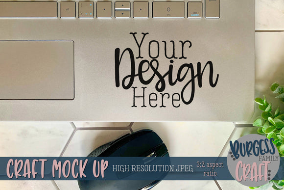 Laptop decal on hexagons | Craft mock up