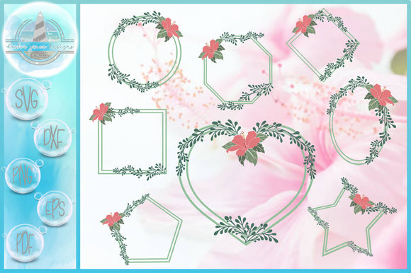 Hibiscus Flower And Leaves Shape Frame Bundle SVG