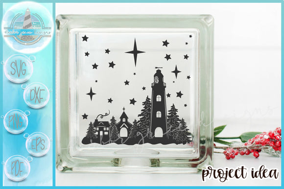 Lighthouse and Town Stars Silhouette Glass Block Design SVG