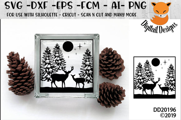 Winter Forest Scene Glass Block