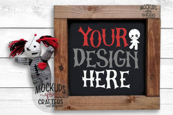 Mock-Up - Wood Sign - Voodoo - Gothic theme
