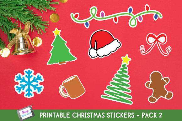 Christmas Stickers - Pack 2 - Print and Cut Stickers