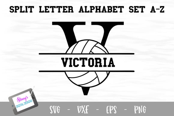Split Letters A- Z - 26 split monogram volleyball SVG alphabet