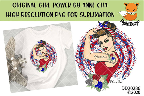 Girl Power By Anne Cha Art Veteran Sublimation Design