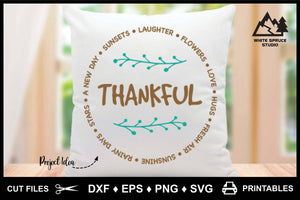 Thankful for A New Day Sunsets Sentiment Circle DXF EPS PNG SVG
