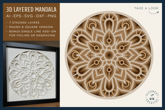 3D layered MANDALA svg | stacked paper shadow box | laser cut wood art dxf