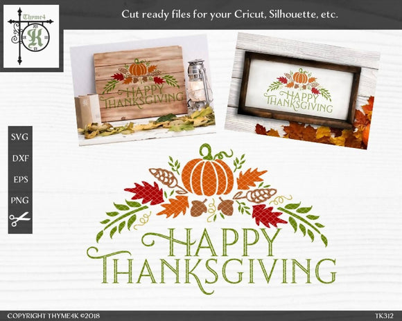 Happy Thanksgiving SVG DXF Cut File
