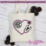 Heart Stethoscope Monogram Frame