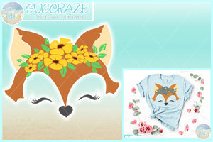 Fox Face with Flowers SVG Dxf Eps Pdf PNG Files for Cricut