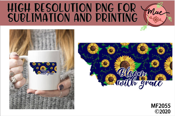 Montana Sunflower Bloom In Grace Sublimation Design