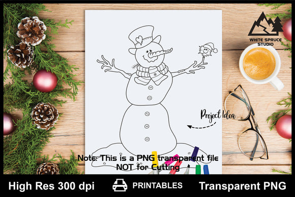 Silly Snowman with Snowflake Friend Printable Line Art PNG
